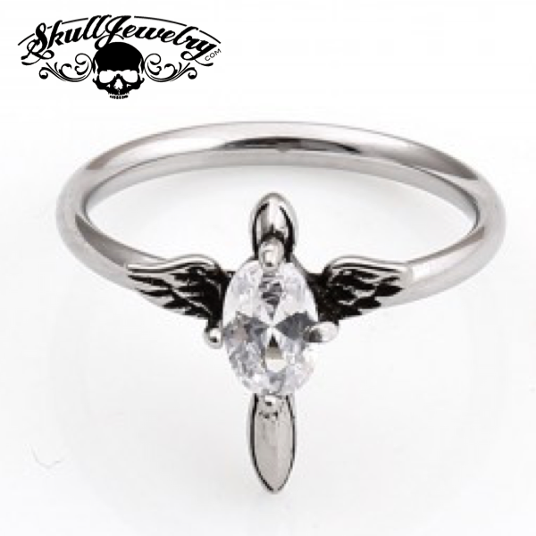 'Little Wing' with White/Clear Gemstone Ring