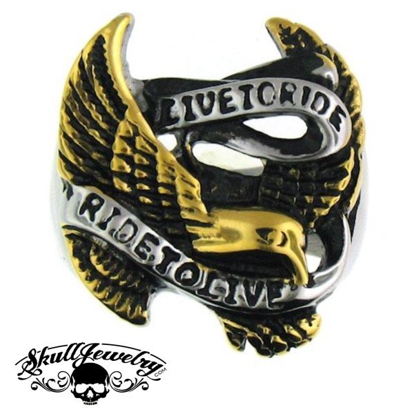 Live to Ride, Ride to Live Stainless Steel Ring With Eagle