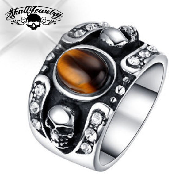 Brown 'Hollywood Nights' Stainless Steel Skull Ring