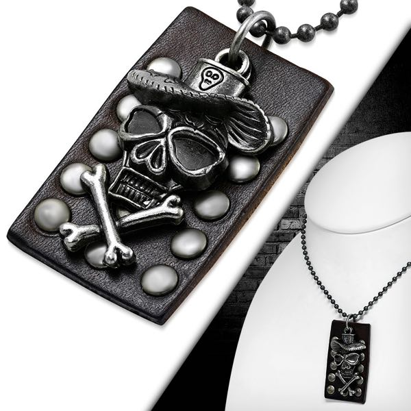 Pirate Skull Crossbones Leather Military Dog Tags