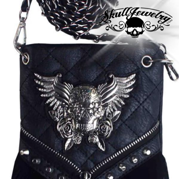 Roxanne Skull & Wings Messenger Bag
