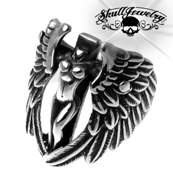 Stainless Steel Lady & Wings Ring