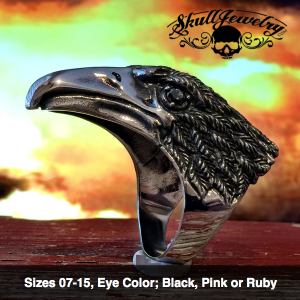 Raven ring with black, ruby or pink eyes