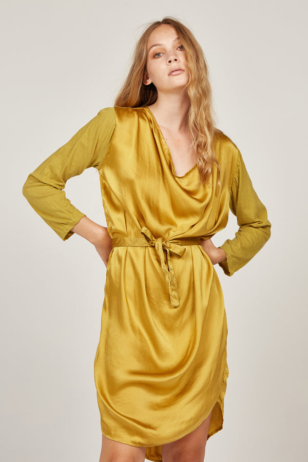 HELIO COWL DRESS - GOLDEN