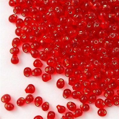 Tiny Miyuki Drop Seed Bead Silver Lined Red 9g Tube (10)