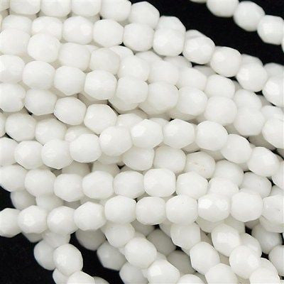 100 Czech Fire Polished 3mm Round Bead Opaque White (03000)