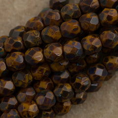 100 Czech Fire Polished 3mm Round Bead Goldenrod Picasso (13740T)