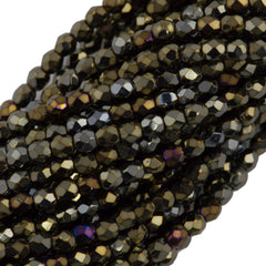 100 Czech Fire Polished 3mm Round Bead Brown Iris (21415)