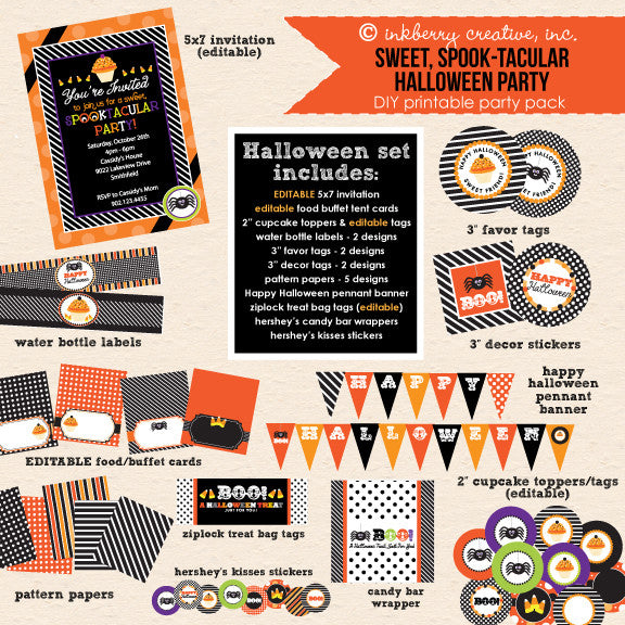 ON SALE!!! Sweet Spooktacular Kids' Halloween Party - DIY Printable Party Pack - inkberrycards