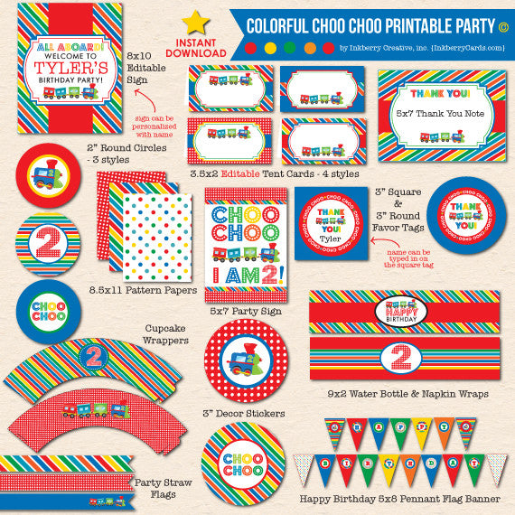 Colorful Choo Choo Train 2nd Birthday - DIY Printable Party Pack - inkberrycards