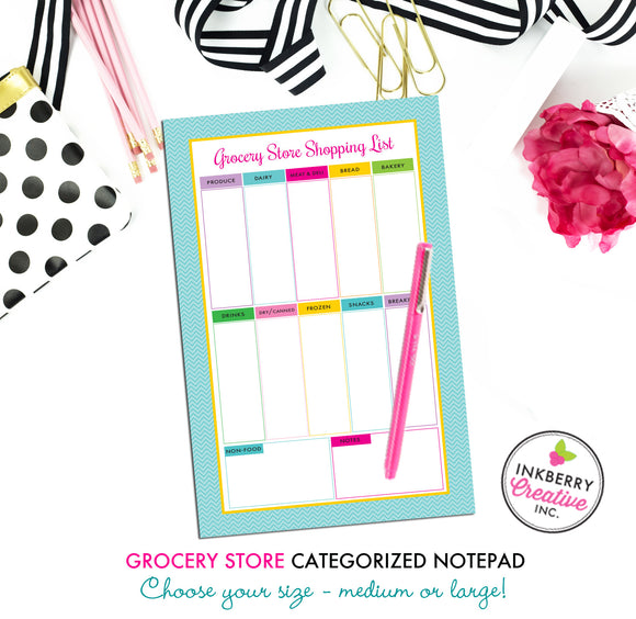 Grocery Shopping List Notepad - Aqua Chevron - 2 Sizes Available - inkberrycards