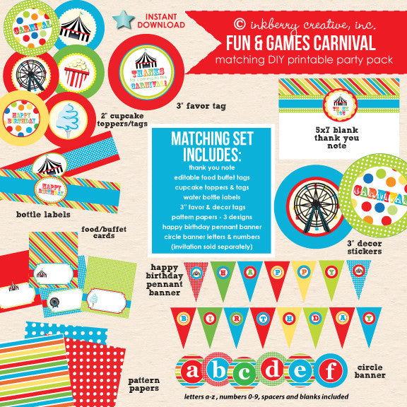 Fun & Games (Primary Colors) Carnival Birthday - DIY Printable Party Pack - inkberrycards