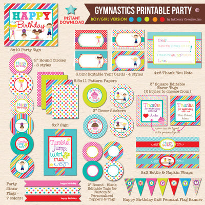 Boy / Girl Combo Gymnastics Birthday - DIY Printable Party Pack - inkberrycards
