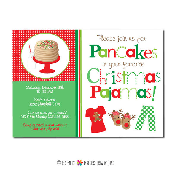 Christmas Pajamas and Pancakes Party Invitation - inkberrycards