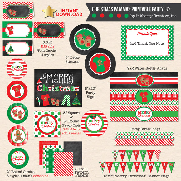 Christmas Pajamas Party - Chalkboard Style - DIY Printable Party Pack - inkberrycards