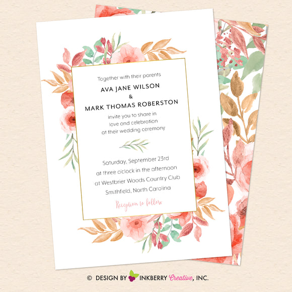 Beautiful Blooms - Watercolor Floral - Printable Wedding Invitation - We Design, You Print - inkberrycards