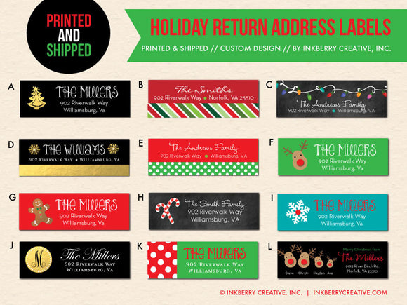 Christmas and Holiday Return Address Labels - Custom Designed to Match Your Holiday Cards - inkberrycards