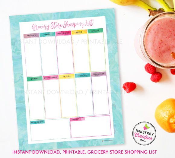 Printable Grocery Store Shopping List, Instant Download, PDF, Meal Planning, Grocery List, Weekly Grocery Store, Aqua Watercolor - inkberrycards