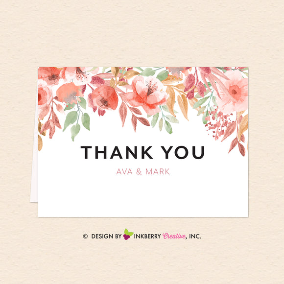 Beautiful Blooms - Watercolor Painted Floral Printable Thank You Note - Custom Design, Printable File, We Personalize, Edit - You Print - inkberrycards