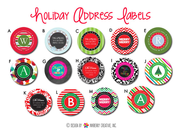 Happy Holiday & Christmas Address Labels - Choose Your Style (Pack of 24) - inkberrycards