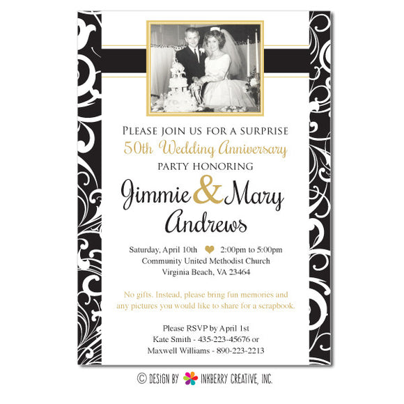 Golden Anniversary Party Invitation - inkberrycards