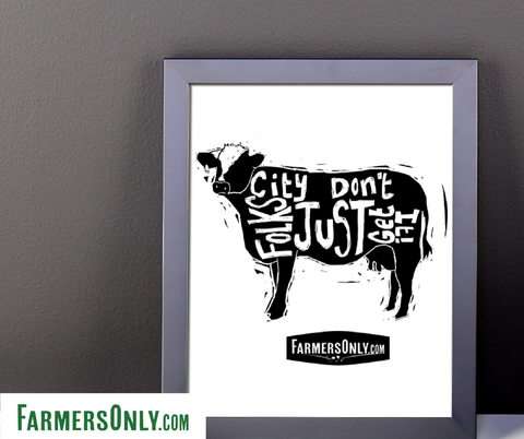 Cow City Folks Just Don't Get It Framed Poster