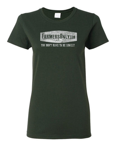 FarmersOnly Distressed Lonely Logo- Ladies T-Shirt