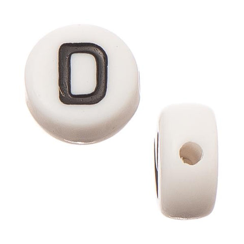"6mm Flat Round Letter ""D"" Beads 10/pk"