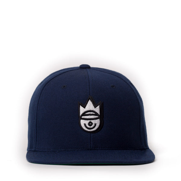 THE NAVY AND SILVER SMILEY SNAPBACK