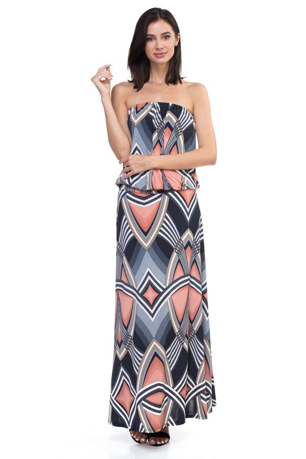 Tube Top Maxi Dress in Art Deco Print Front