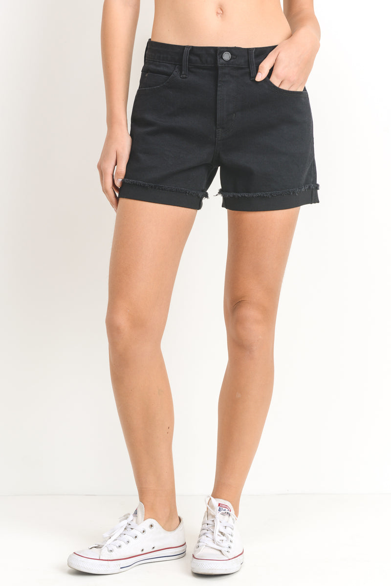 Black Cuffed Jean Shorts