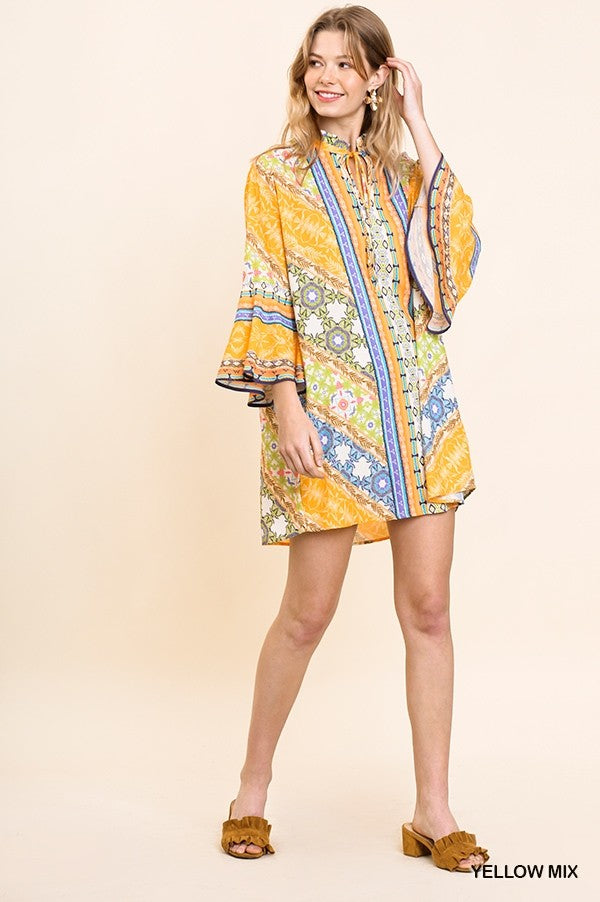 Floral Scarf Print Bell Sleeve Dress