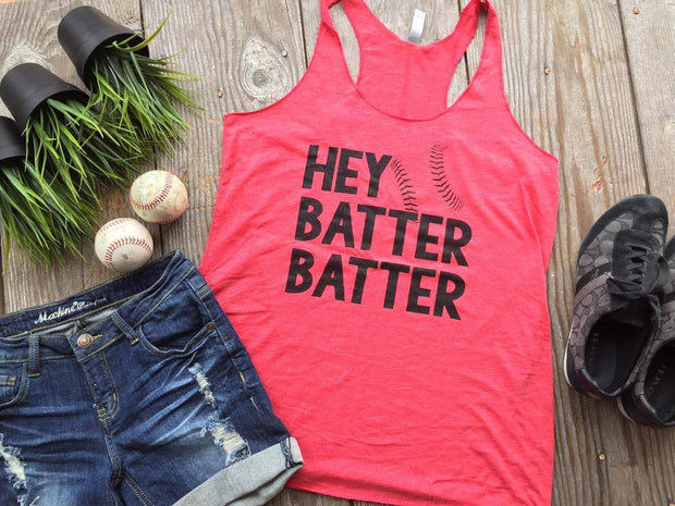 Hey Batter Batter Baseball Tank - red, BASEBALL, GRAPHICS, badhabitboutique