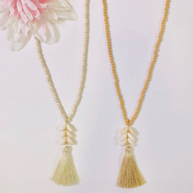 beaded tassel coffee bean seashells necklace ivory natural