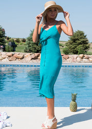 Midi Dress w/ Front Tie-Teal