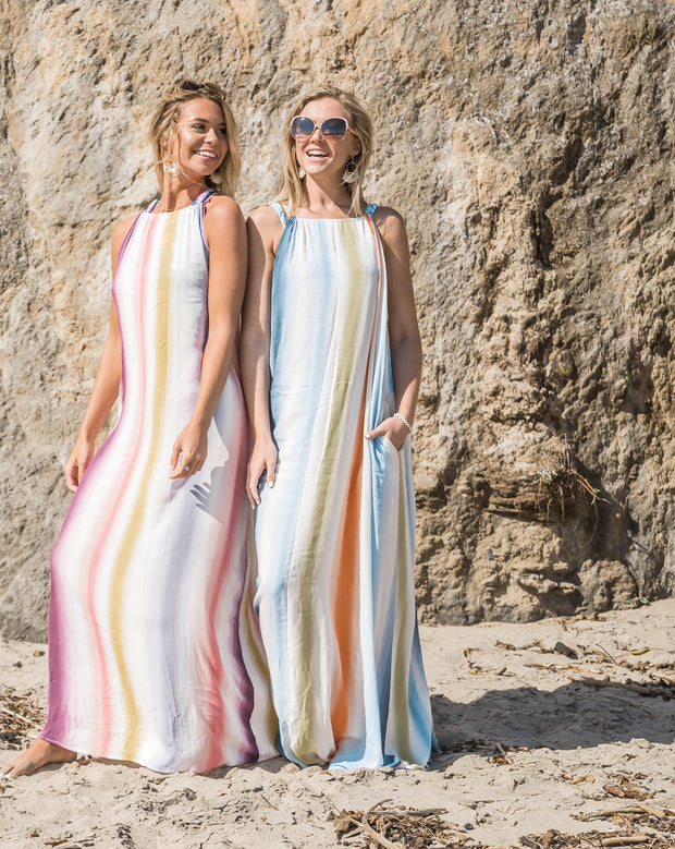 these striped colored tank maxi dress