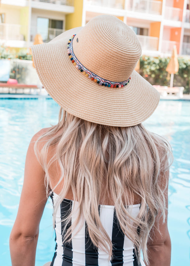 pom pom tribal sun hat natural