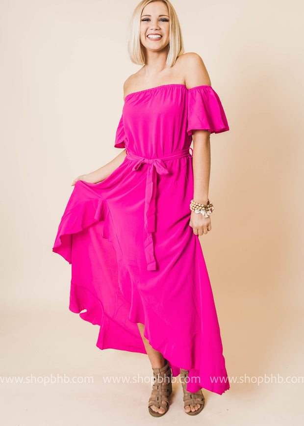 off the shoulder ruffle wrap dress fuchsia