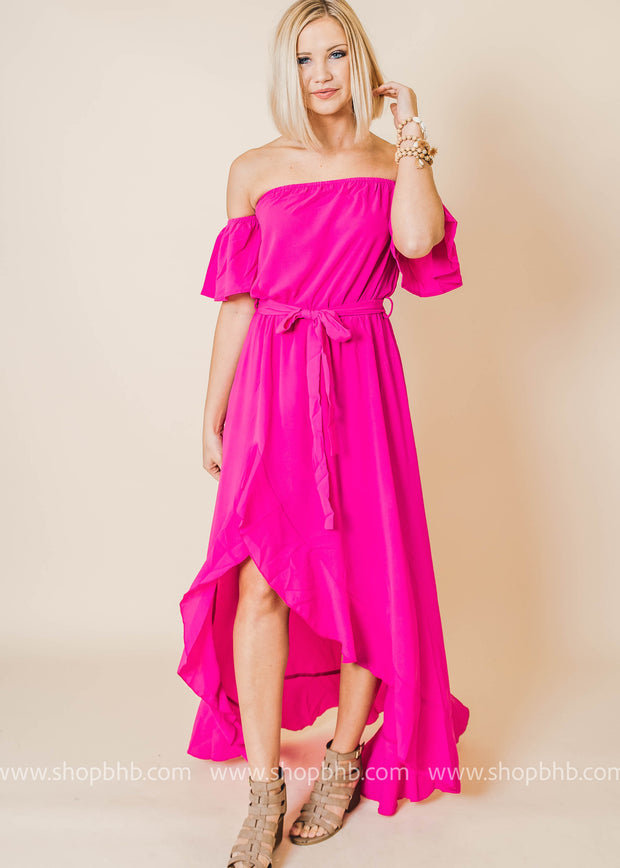 Off the Shoulder Ruffle Maxi Wrap Dress