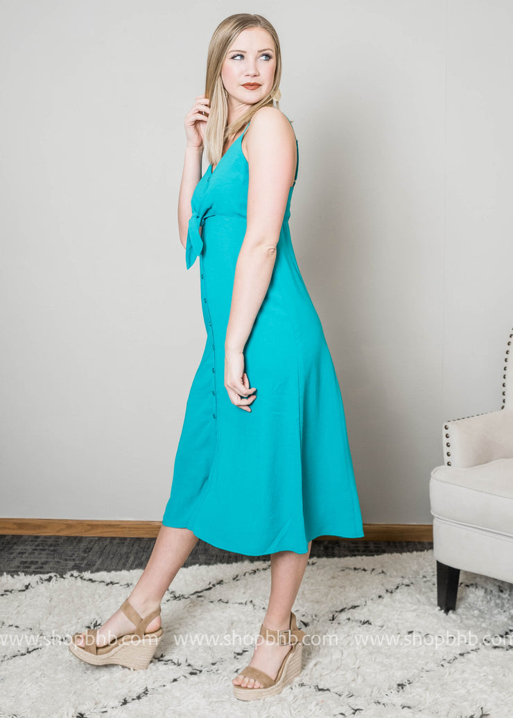 Midi Dress w/ Front Tie-Teal - FINAL SALE