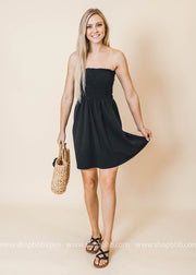 black tube top dress, tubetop, sleeveless dress, swimsuit coverup
