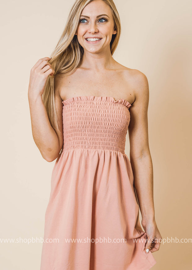 blush tube top dress, tubetop, sleeveless dress, swimsuit coverup
