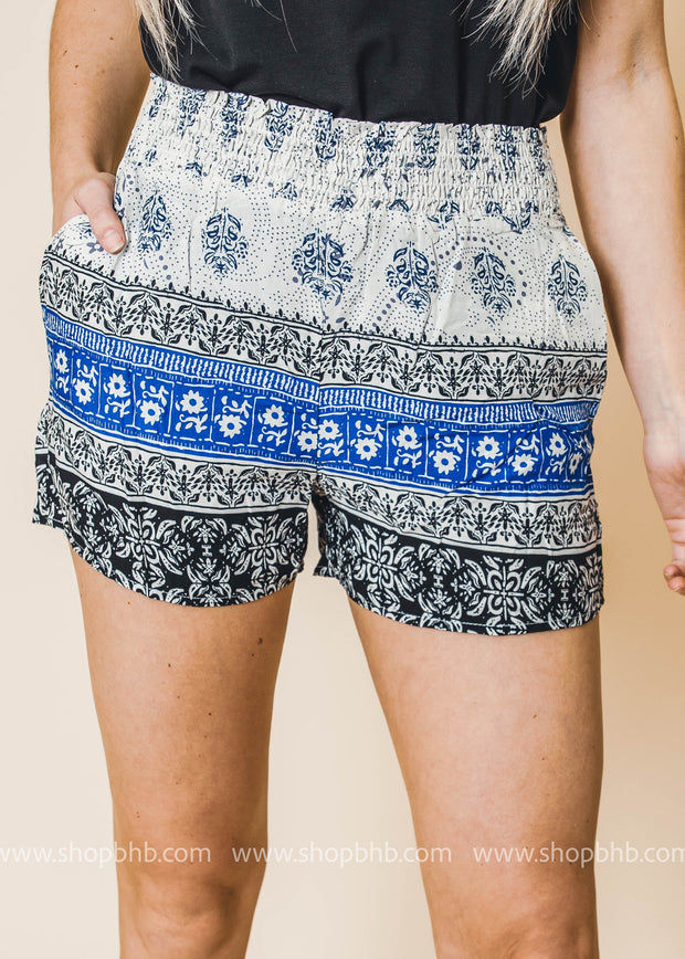 blue printed colorblock shorts with pockets