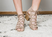 These taupe Core-135x are Qupid's strappy tie up sandal.