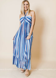 striped halter blue maxi dress