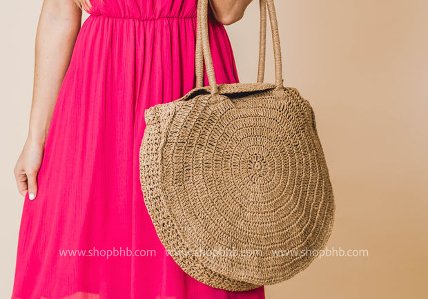 Resort Classic Round Straw Bag