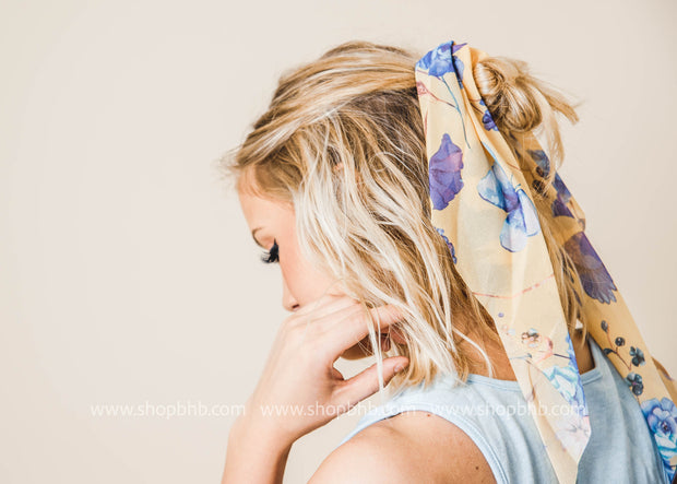 Butterfly Floral Ponytail Scrunchie, SCARVES, Avenue Zoe, BAD HABIT BOUTIQUE