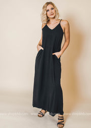 black cami maxi dress with pockets