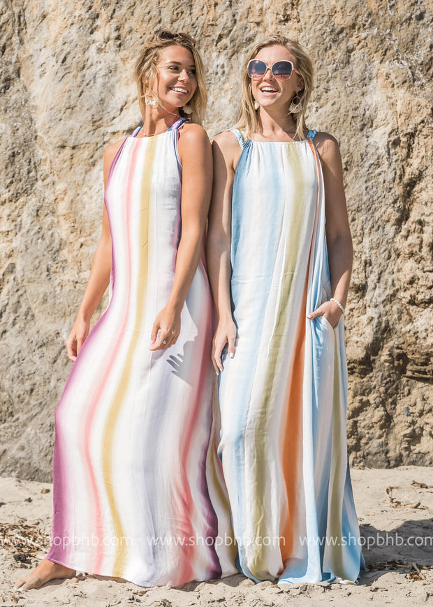 Turn Things Up Striped Halter Maxi Dress - FINAL SALE