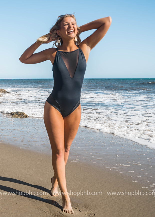 The Beach is Calling Mesh Black One Piece